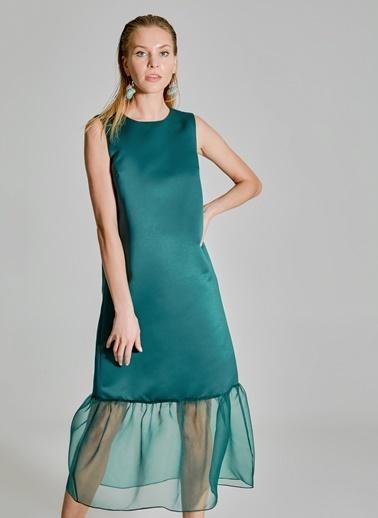 People By Fabrika Organze Detaylı Saten Elbise Yeşil